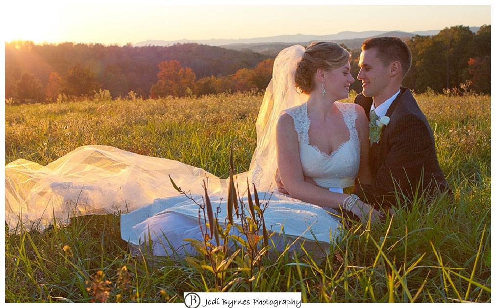 sunset field bride and groom