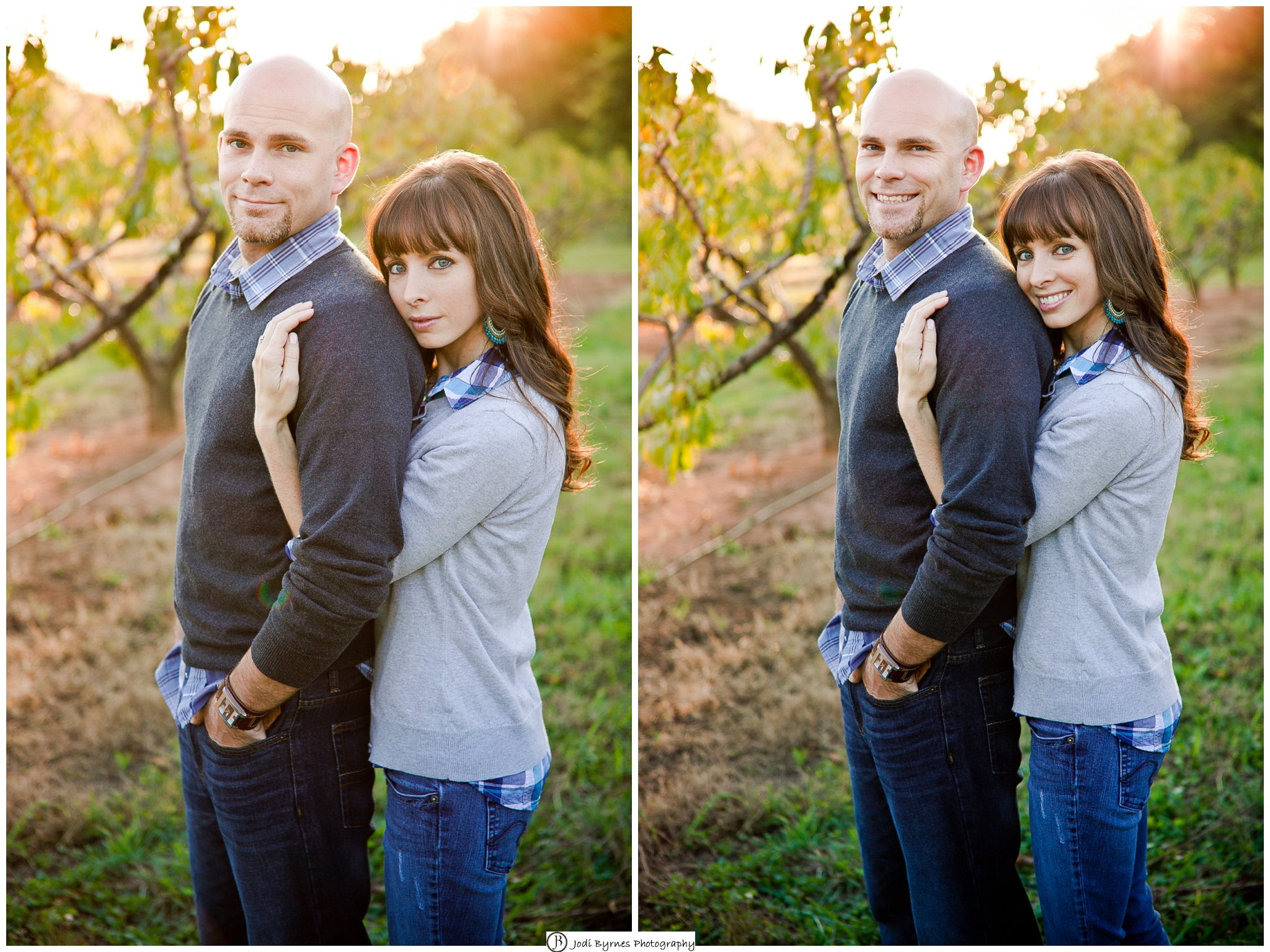 Country peach orchard family portrait session