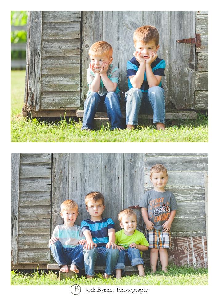 little boys on the farm