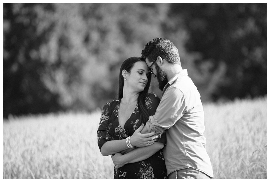 black and white couple in a field